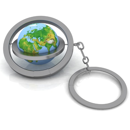3d illustration trinket. Globe connected with a chain Stock Illustration - 11945947