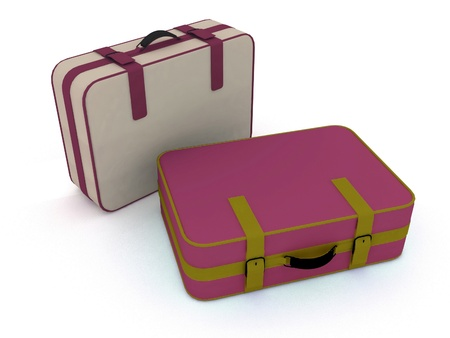 carryall: Suitcases isolated on white background Stock Photo