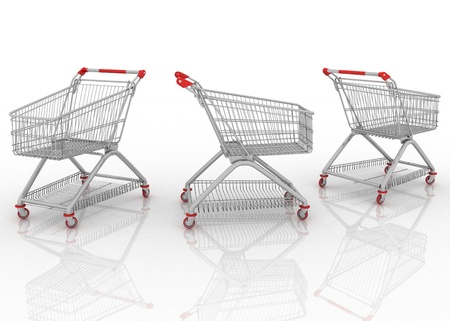 3d models shopping carts isolated on white background photo