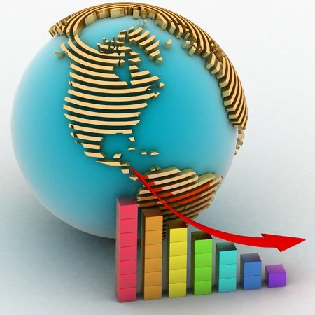 lowering chart with a pointer on a background a globe Stock Photo - 11946707