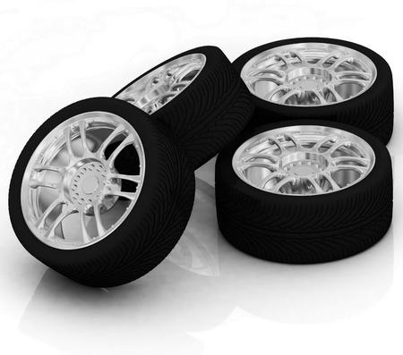 Wheels isolated on white. 3d illustration. Stock Illustration - 11949942