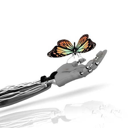 The butterfly on a hand of the robot photo