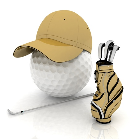 belonging: belonging for playing golf on a white background
