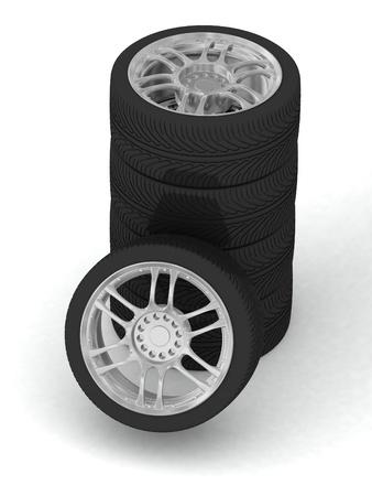 Wheels isolated on white. 3d illustration. Stock Illustration - 11948632