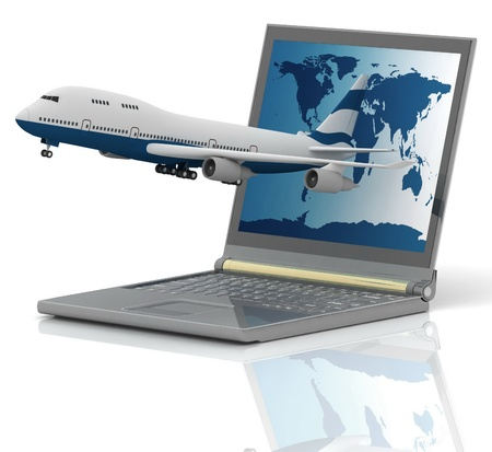 The plane takes off from the laptop monitor Stock Photo - 11948973