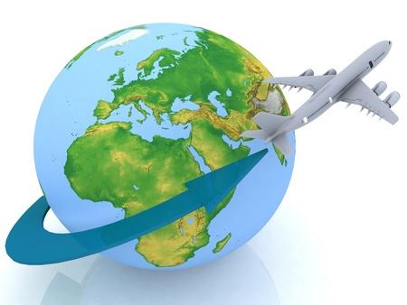 airplane world: airplane travel Stock Photo