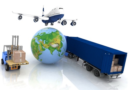 airliner with a globe and autoloader with boxes Stock Photo - 11948768