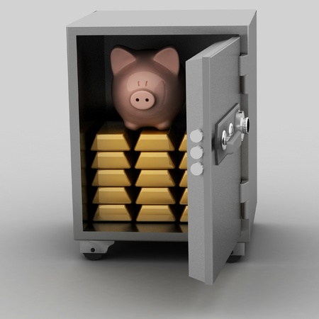 repository: bullions and piggy bank in a security safe