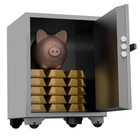 bullions and piggy bank in a security safe Stock Photo - 11949093