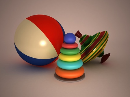 3d child's toys pyramid, top, ball Stock Photo - 11949094