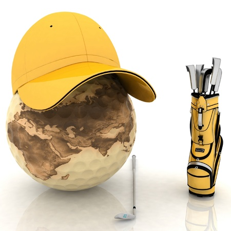 belonging for playing golf on a white background Stock Photo - 11948761
