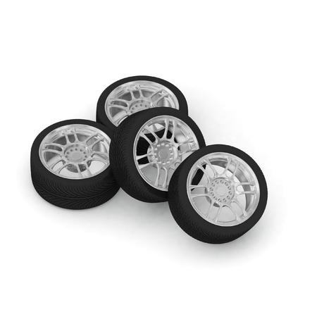 New wheels on white background photo