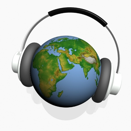 headset on world globe in isolated background photo