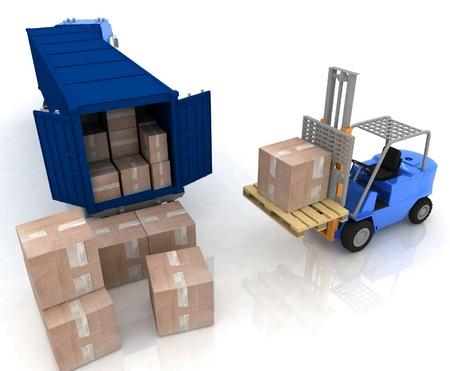 carga: Carga de cajas está aislado en un recipiente sobre un fondo blanco