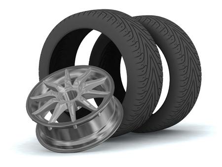 wheels isolated on white photo