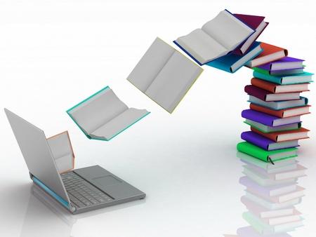 biblioteca: los libros de volar en su computadora port�til Foto de archivo