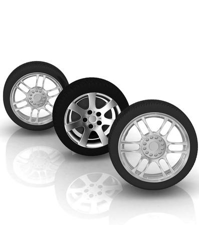 Wheels isolated on white. 3d illustration. Stock Illustration - 11948764