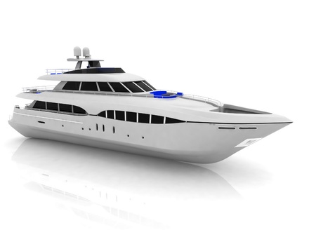 White pleasure yacht isolated on a white background photo