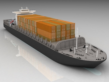 shipload: Cargo ship Stock Photo