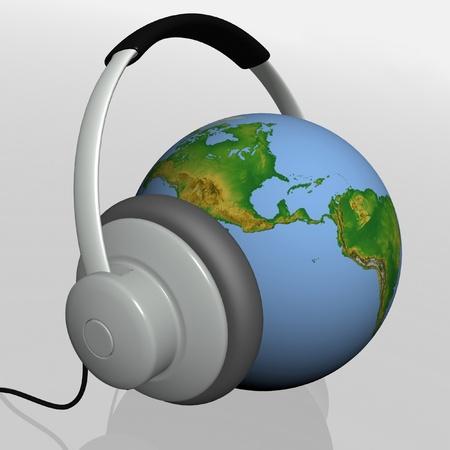 headset on world globe in isolated background photo