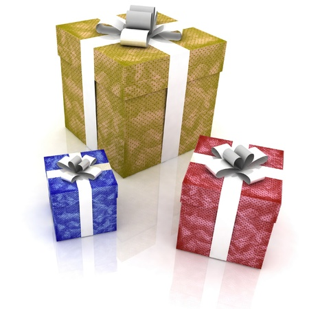 beautiful gift boxes on a white background Stock Photo - 11947399