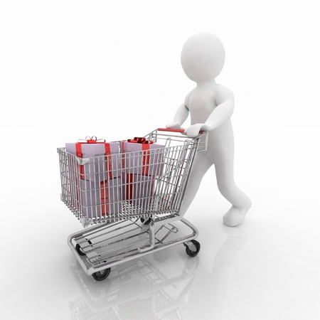 mujer en el supermercado: 3d hombre tira el carrito de la compra de regalos