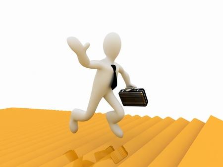 3d businessman running along the golden forest to Success Stock Photo - 11947579