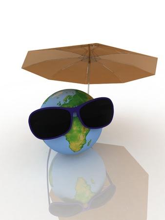 deckchair: A globe is in dark glasses under an umbrella