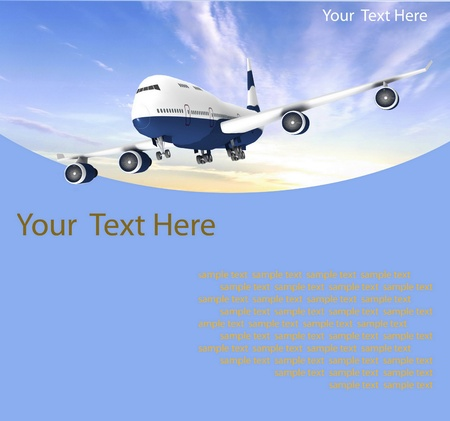 TAKEOFF: Picture of airplane on the blue background