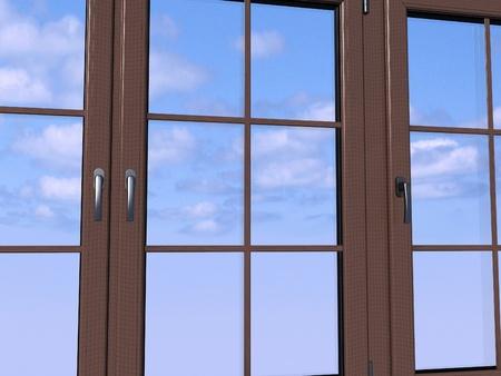 Sky seen through an wooden window Stock Photo - 11949982