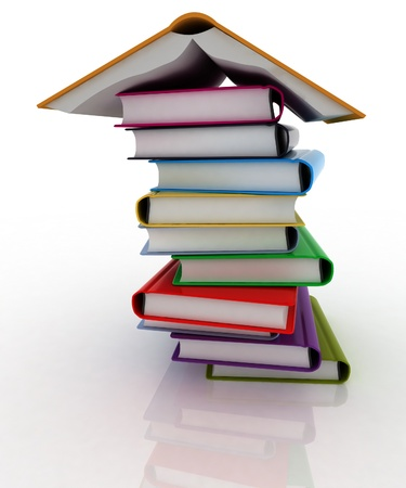 open houses: 3d book pile and inverted open book