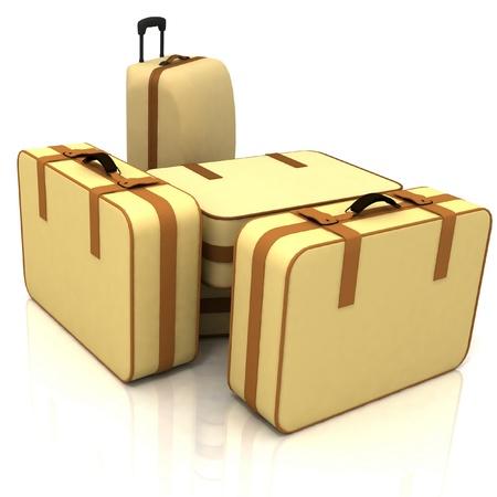 Suitcases isolated on white background photo