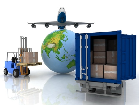 air freight: airliner with a globe and auto loader with boxes Stock Photo