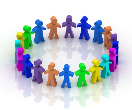 unification: 3d people in  circle