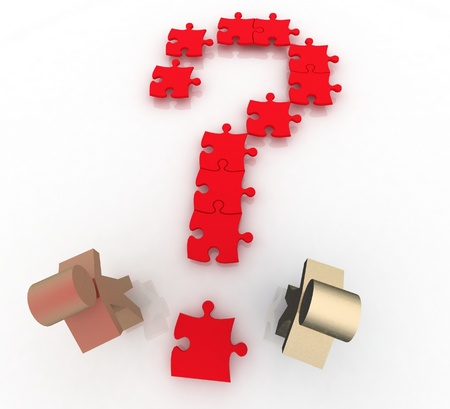 searches: two men  on question mark jigsaw puzzle searches for a solution.
