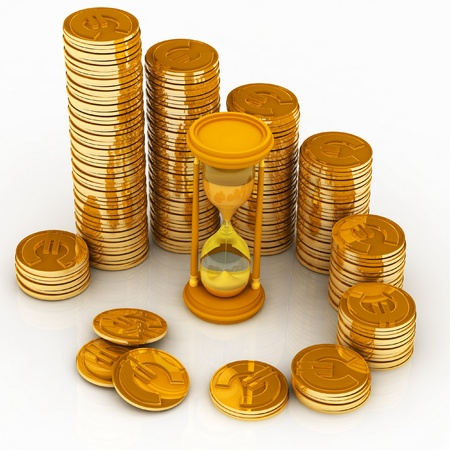 hourglass and coins photo