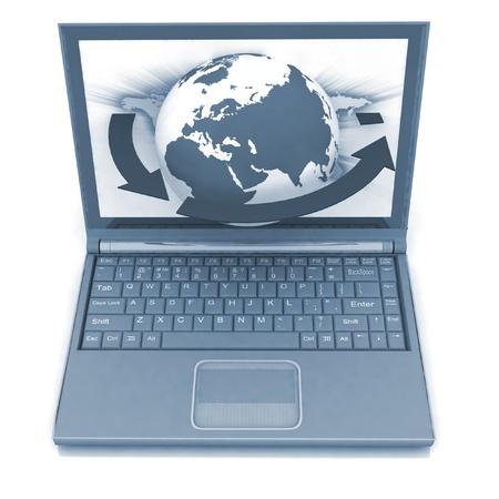 Laptop on white background photo