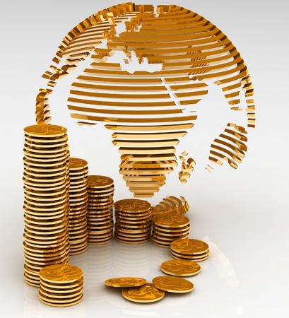 Gold hele wereld met vele gouden munten