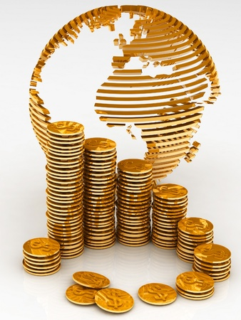 Gold globe with many gold coins photo