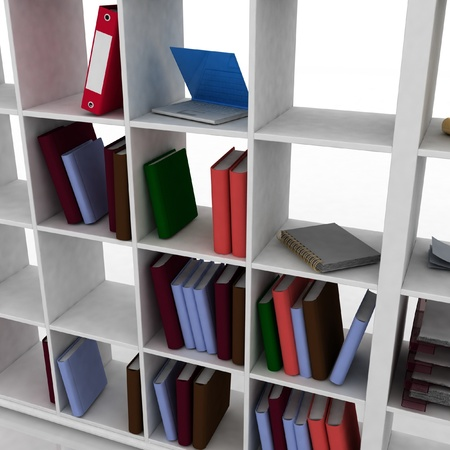 3d bookcase with instruments for office photo
