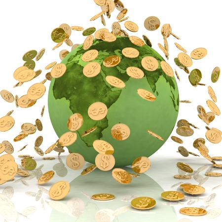 emergent: Falling chinks on earth. Conception of financing of environment Stock Photo