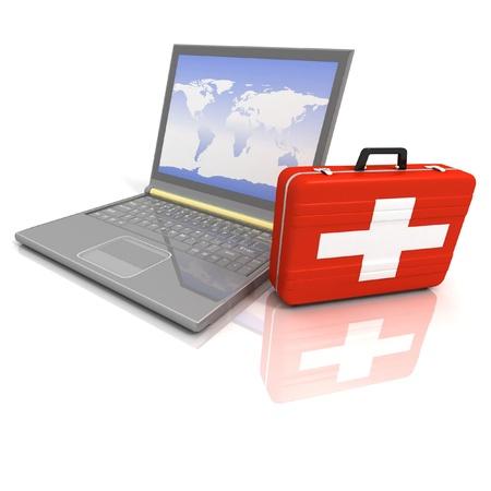 computer repairing: laptops diagnostic. 3d illustration