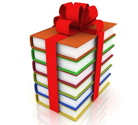 books with a bow on white background Stock Photo - 11948242