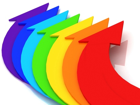 3d arrows of color of rainbow on a white background photo