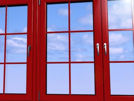 Sky seen through an red window Stock Photo - 11949930