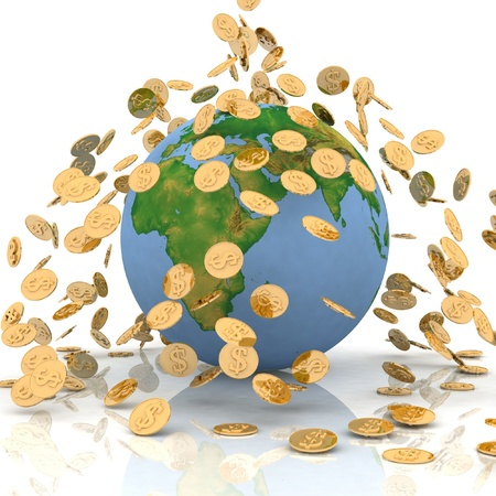 Falling chinks on earth. Conception of financing of environment Stock Photo - 11949953