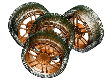 wheels on white background  photo