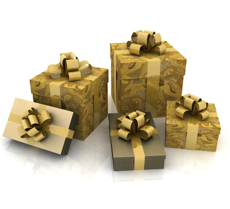 beautiful gift boxes on a white background Stock Photo - 11985541