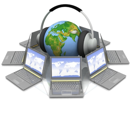voip: globe in headsets in the middle laptops