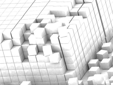 assembling: damaged assembling of white blocks
